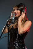 Woman Singer Recording A New Song Royalty Free Stock Photos