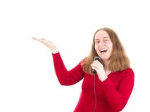 Woman singing and dancing Royalty Free Stock Photos