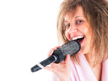 Woman singing with hairbrush Royalty Free Stock Photography