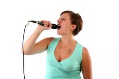 Woman singing her heart out Royalty Free Stock Photos