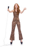 Woman singing isolated Royalty Free Stock Photography