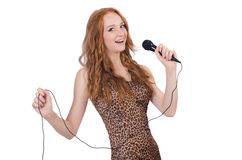 Woman singing isolated Royalty Free Stock Images