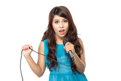Woman singing karaoke Royalty Free Stock Photo