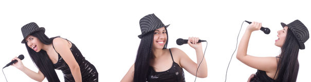 The woman singing in karaoke club in various poses on white royalty free stock photos