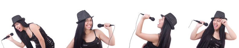 The woman singing in karaoke club in various poses on white Royalty Free Stock Image