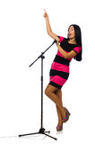 Woman singing in karaoke club on white Royalty Free Stock Images