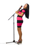 The woman singing in karaoke club on white Royalty Free Stock Photography