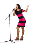 The woman singing in karaoke club on white Stock Images