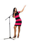 Woman singing in karaoke club on white Stock Photography