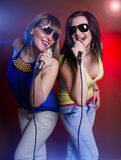 Woman singing on the party Royalty Free Stock Photography