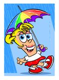 Woman singing in the rain  Royalty Free Stock Photo
