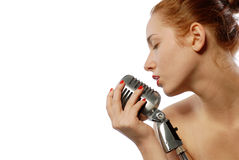 Woman singing a song Royalty Free Stock Images