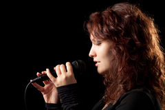 Woman Singing Tenderly Royalty Free Stock Image