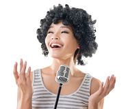 Woman singing Stock Image