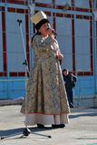 Woman sings the song. National Unity Day in Russia. Pyatigorsk, Russia - November 4, 2017: The woman sings the song on the stage in a traditional clothes of the Royalty Free Stock Image