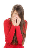 Woman with sinus pain. Stock Image