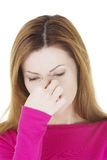 Woman with sinus pressure pain Royalty Free Stock Photo