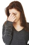 Woman with sinus pressure pain Royalty Free Stock Photography