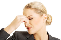 Woman with sinus pressure pain Stock Photos