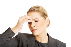 Woman with sinus pressure pain Stock Image