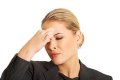 Woman with sinus pressure pain Royalty Free Stock Images