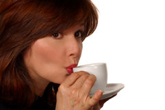 Woman Sipping Coffee Royalty Free Stock Image