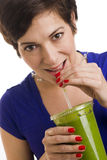 Woman Sips Green Fruit Food Smoothie Royalty Free Stock Photo
