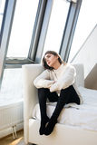 Woman sit on bed Royalty Free Stock Photography