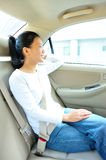Woman sit in car Royalty Free Stock Photography