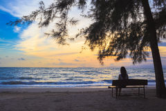 Woman sit on chairs under tree on beach Stock Images