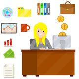 Woman sit at Desk with computer and typing text message in office. royalty free illustration