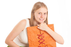 Woman sit with gift bag Royalty Free Stock Photo