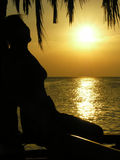 Woman sit. sunrise. palms. Stock Photos