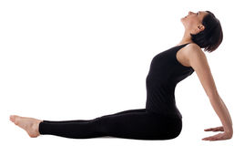 Woman sit in yoga asana - simple seated pose Stock Images