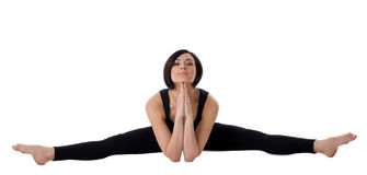 Woman sit in yoga asana - Upavistha Konasana Royalty Free Stock Photography