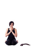 Woman sit in yoga meditation pose pray with beads Stock Images