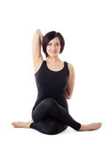 Woman sit in yoga pose - cow face Royalty Free Stock Photos