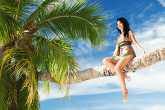 Woman siting upon palm tree on the beach Royalty Free Stock Photos