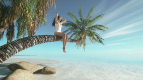 Woman siting upon palm tree on the beach. Royalty Free Stock Images