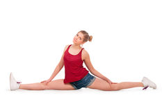 Woman siting on straddle split Royalty Free Stock Images