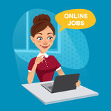 Woman sits at home and looks for job on laptop. Woman uses online recruitment service. ONLINE JOBS concept Stock Photography