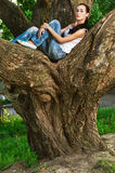 Woman sits on huge tree i Stock Photos