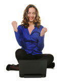 The woman sits before laptop Royalty Free Stock Images