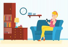 Woman sits on a sofa with phone and listens to music. Woman listen to music on headphones.Woman enjoy music. Vector illustration stock illustration