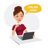 Woman sits at table and looks for job on laptop. Woman uses online recruitment service. ONLINE JOBS concept.  Stock Photo