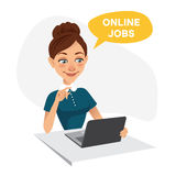 Woman sits at table and looks for job on laptop. Woman uses online recruitment service. ONLINE JOBS concept.  Stock Images