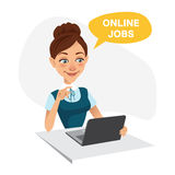 Woman sits at table and looks for job on laptop. Woman uses online recruitment service. ONLINE JOBS concept.  Royalty Free Stock Images