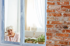 Woman sitting alone. Worried woman sitting alone by the window with plants on windowsill Stock Photo