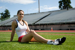 Woman Sitting At Track Stock Photography