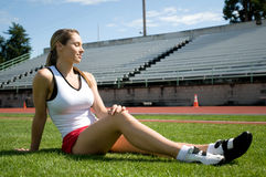 Free Woman Sitting At Track Stock Images - 7216044